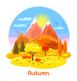 autumn landscape with trees mountains and hills vector image vector image