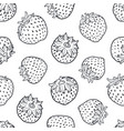 black and white strawberry seamless pattern vector image vector image