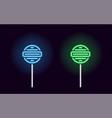 blue and green neon lollipop vector image vector image