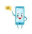 blue humanized smartphone with funny face waving vector image vector image