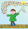 boy with net vector image