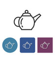 brewing teapot line icon in different variants vector image