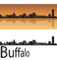 Buffalo skyline in orange background vector image vector image