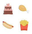 cake ham hot dog french friesfast food set vector image