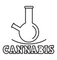 cannabis smoking flask logo outline style vector image