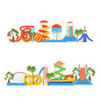 cartoon aquapark playground elements line set vector image vector image