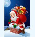 cartoon santa claus enters a home through the chim vector image