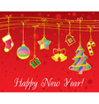 Christmas and New Year card with gold garland vector image