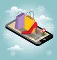 christmas and new year shopping online winter vector image
