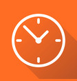 clock icon flat design with long shadow on orange vector image vector image