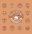 coffee badge food thin line lettering for vector image vector image