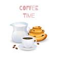 coffee drink milk jug and bun vector image vector image