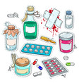 comic style icons medical drugs bottles of vector image vector image