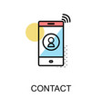 contact icon and cellphone on white background vector image