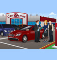 couple buying new car vector image vector image