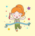 cute girl win relay sport character vector image