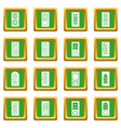 door icons set green square vector image vector image