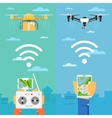 Drone technology concept with flying robots vector image vector image
