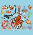 fishes set or sea creature nautilus pompilius vector image vector image