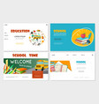 flat education websites set vector image vector image