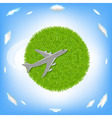 Green Planet And Plane vector image vector image