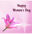 happy womens day greeting card with flower of vector image