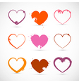 Heart Set Grunge Pink Red Orange Valentine Symbols vector image vector image