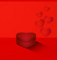 heart shaped box on red background vector image vector image