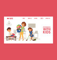 household with kids mother vector image