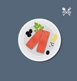icon of salmon fillet on a plate top view vector image vector image