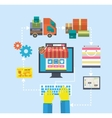 Internet shopping process of purchasing and vector image vector image