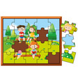 jigsaw puzzle game with kids in park vector image vector image