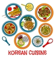 Korean grilled meat and seafood dishes sketch icon vector image vector image