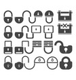 lock icon set symbol vector image vector image