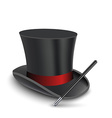 Magician Top Hat with stick vector image vector image