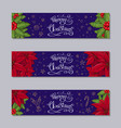 merry christmas horizontal banners set vector image