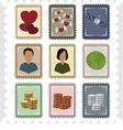 Nine stamps vector image vector image