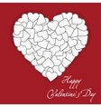 Postcard one big white heart made of small hearts vector image