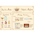Recipe of cupcakes and muffins with ingredients vector image