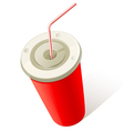 red cold drink cup vector image vector image