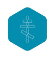 religious orthodox cross icon outline style vector image vector image