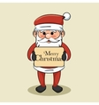 santa claus hold merry christmas sign vector image