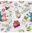 seamless texture colored spring doodles on a vector image vector image