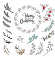 set christmas branch and mistletoe vector image vector image