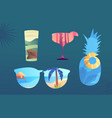 set fun summertime icons on blue background vector image