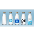 Set of icons glass bottles with a milk vector image vector image
