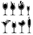 silhouette wine glass with splash vector image vector image