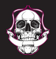 skull with ribbon vector image vector image