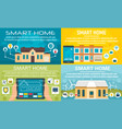 smart home banner set flat style vector image vector image