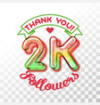 thank you 2k followers vector image